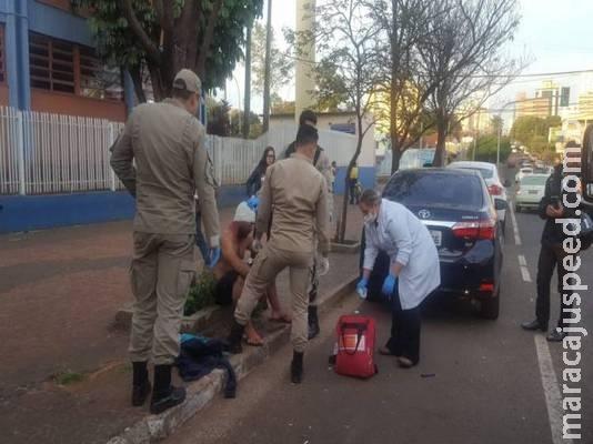 Foragido é preso depois de ser esfaqueado em briga de rua no centro