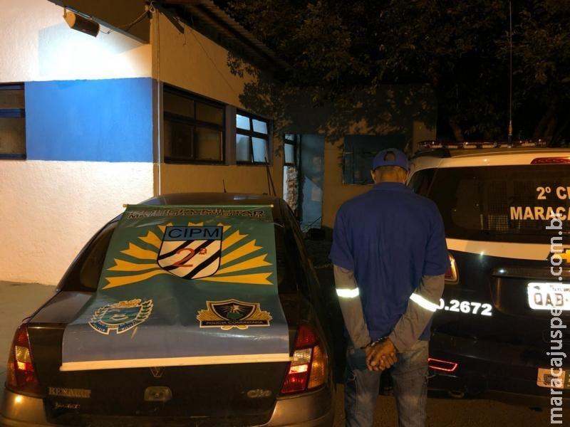 Maracaju: Ação rápida da PM prende autor de furto de veículo em flagrante e recupera carro nas proximidades do Conjunto BNH