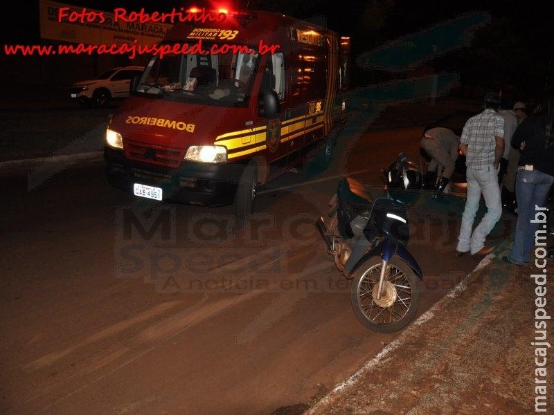 Maracaju: Bombeiros atendem ocorrência de acidente envolvendo motocicleta e veículo na Av. Marechal Floriano