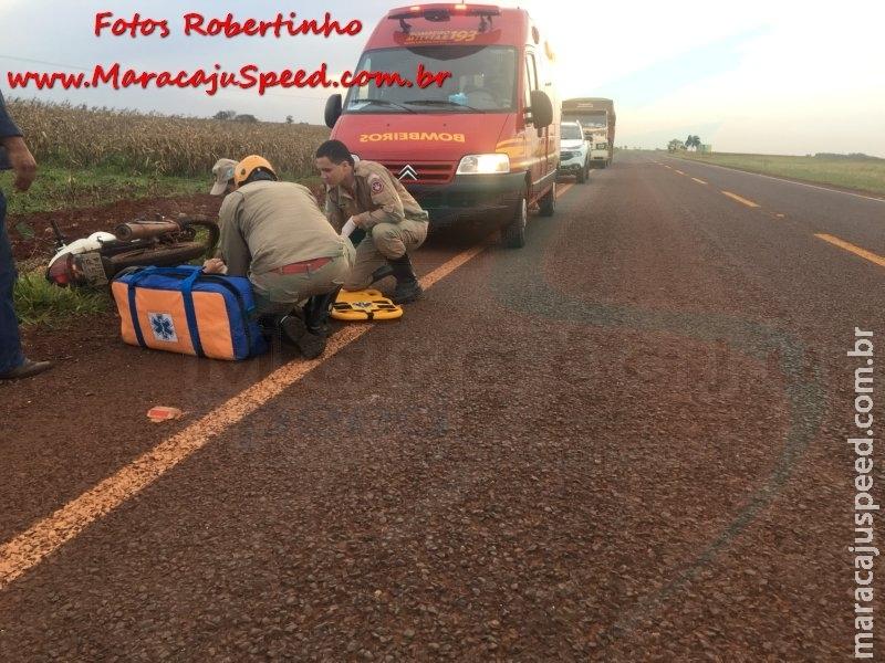 Maracaju: Bombeiros atendem ocorrência de acidente entre motociclista e carreta na MS-460