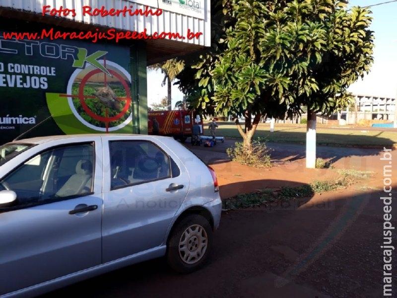 Maracaju: Corpo de Bombeiros atendem acidente envolvendo veículo e motociclista na Av. Perimetral Norte