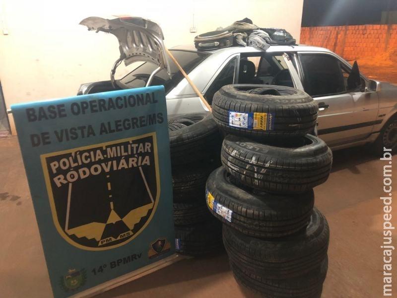 Maracaju: PMRv Base Vista Alegre apreende pneus, cigarros e ursos de pelúcia oriundos do contrabando e descaminho