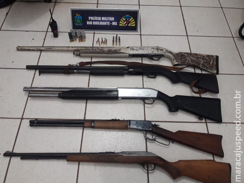 Rio Brilhante: Polícia Militar apreende arsenal em região de fazenda próximo a BR-163