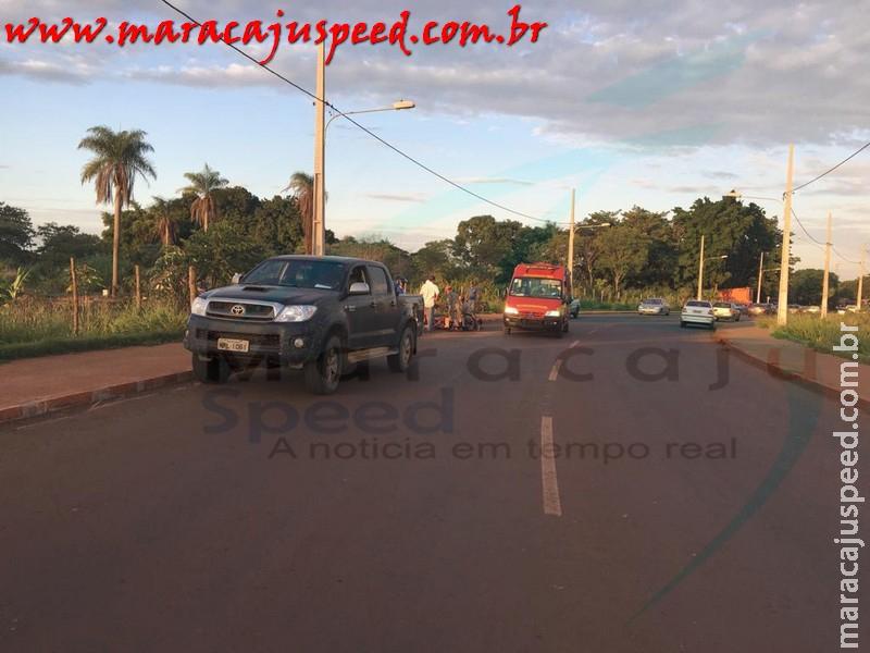 Maracaju: Acidente entre uma camionete Hilux e uma Ciclista próximo a saída para Campo Grande deixa ciclista com ferimentos leves
