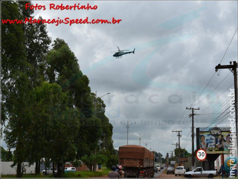 Forças policiais da fronteira deflagram operação e realizam abordagens a suspeitos e veículos na fronteira, com o apoio de helicóptero da PM