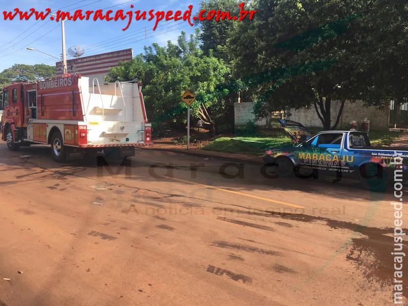 Maracaju: Corpo de Bombeiros atendem ocorrência de incêndio em veículo na Vila Moreninha
