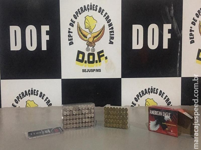 Maracaju: DOF apreende 100 munições de calibre 22