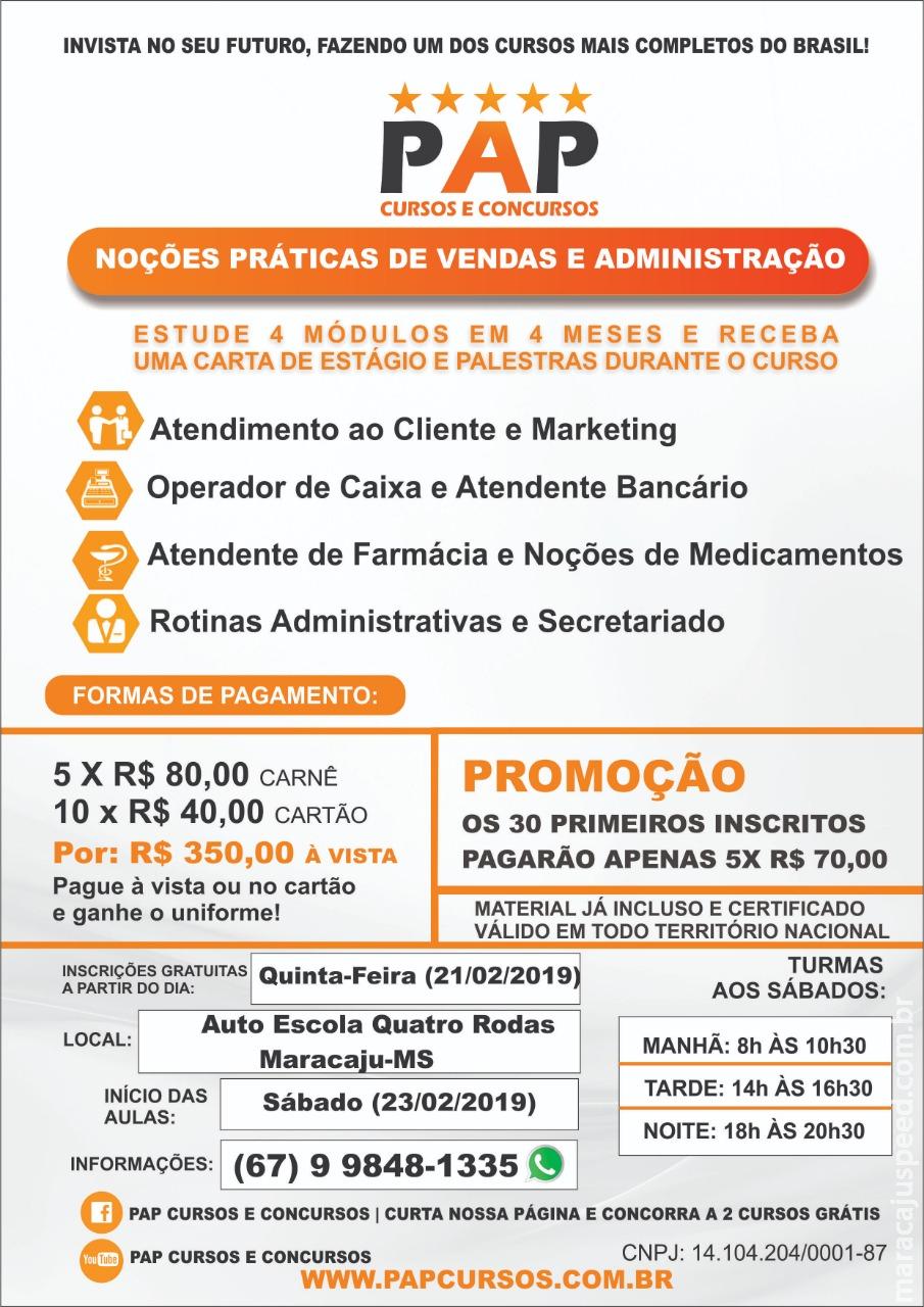 Cursos PAP retornam em Maracaju: Noções Práticas de Vendas e Administração