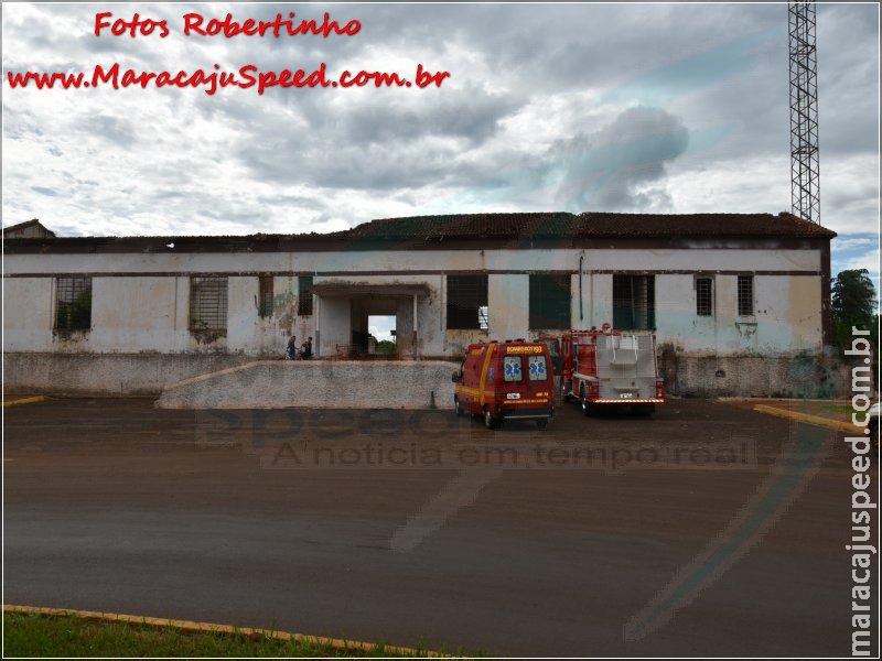 Maracaju: Bombeiros foram acionados para atender incêndio em prédio histórico da ferrovia