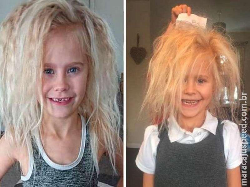 Menina de 7 anos tem cabelo