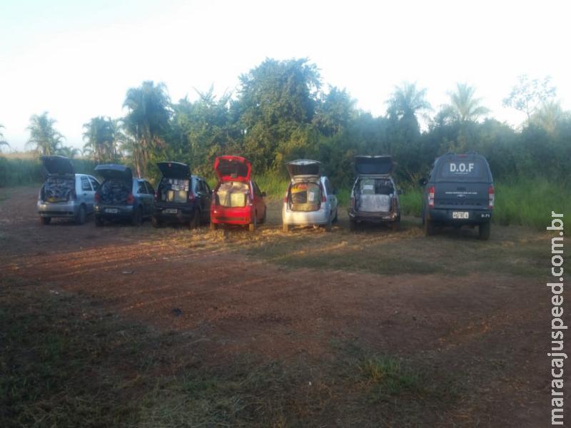 Comboio de seis veículos com mercadorias do Paraguai foram apreendidos pelo DOF na região de Maracaju