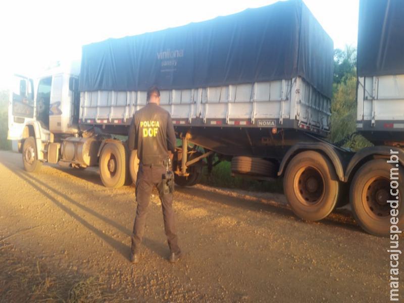 DOF apreende carreta na região de Maracaju com pneus contrabandeados do Paraguai