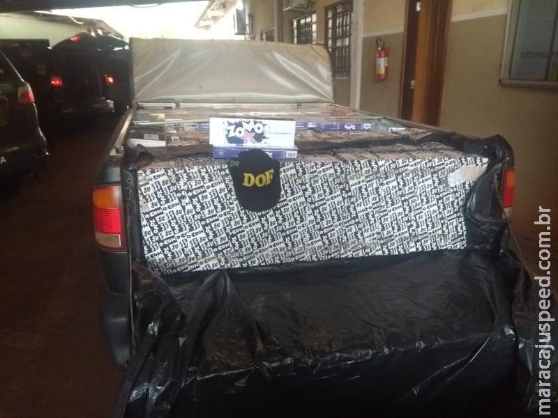 Dois veículos carregados com quase 800 pacotes de essência para narguilé contrabandeados do Paraguai foram apreendidos pelo DOF