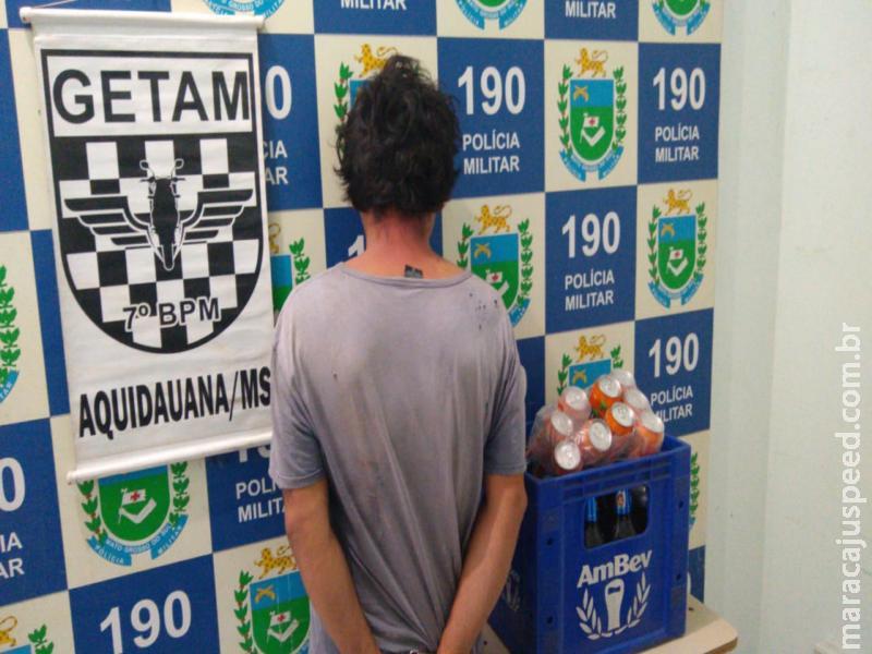 Homem é preso em Aquidauana após furtar engradados de cerveja e refrigerante