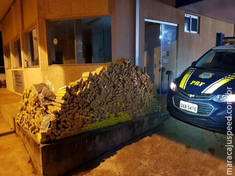 PRF apreende 677 quilos de maconha em veículo abandonado