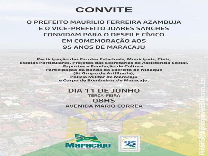 Maracaju: O prefeito Maurílio F. Azambuja e o vice-prefeito Joares Sanches convidam para o desfile cívico em comemoração aos 95 anos de Maracaju