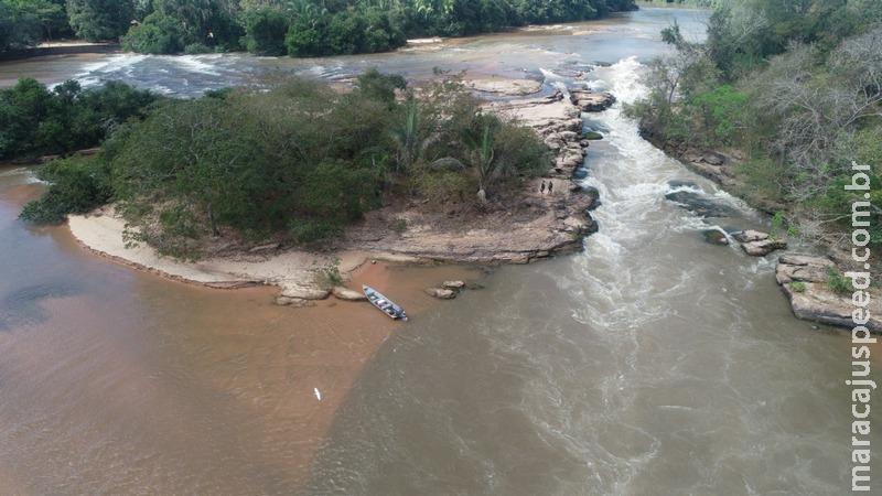PMA de Coxim e Campo Grande usam drones e surpreendem pescador utilizando tarrafa no rio Taquari