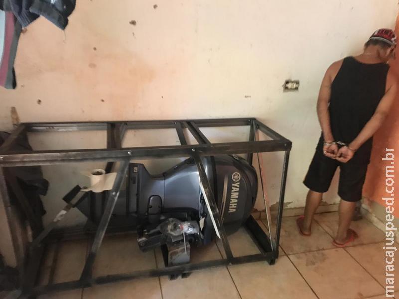 PMA prende homem com várias passagens policiais e recupera motor de popa novo furtado de loja