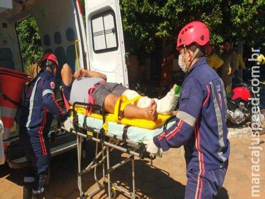 Colisão entre moto e Kombi deixa um homem ferido em Anastácio