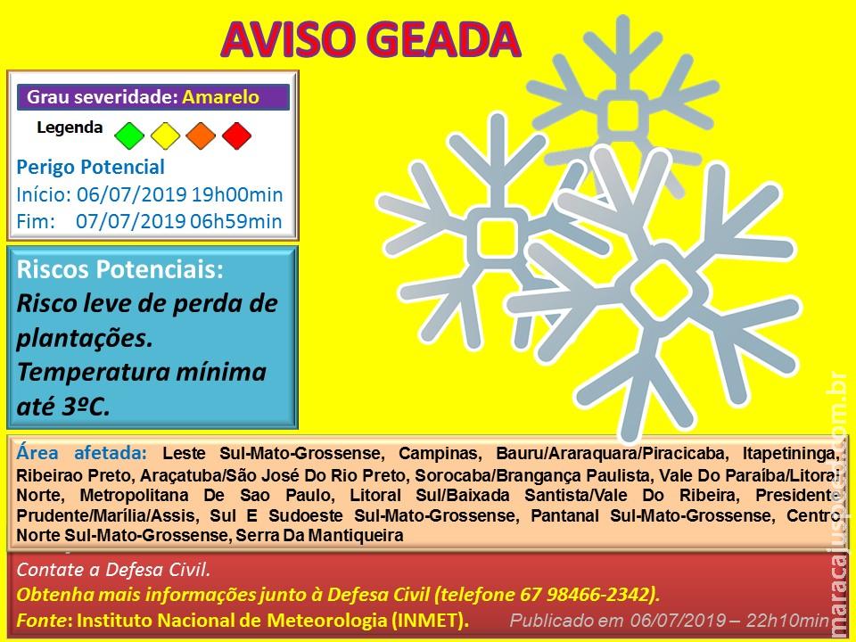 Maracaju: Aviso de Geada