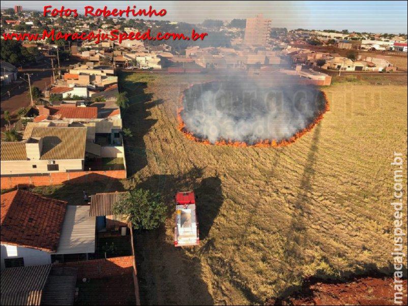 Maracaju: Corpo de Bombeiros atendem ocorrência em incêndio a pastagem nas proximidades do Conjunto Porto Belo