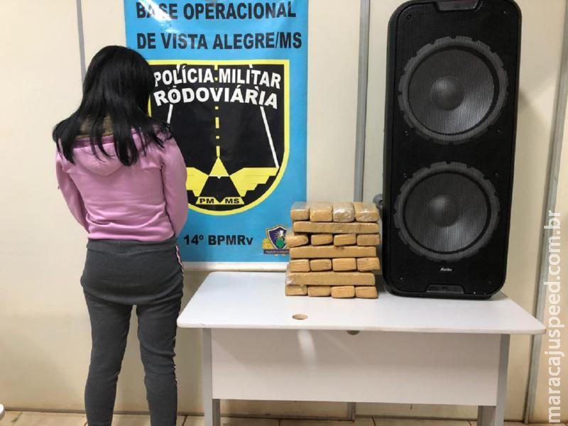 Maracaju: PMRv apreende 30 tabletes de maconha dentro de caixa de som