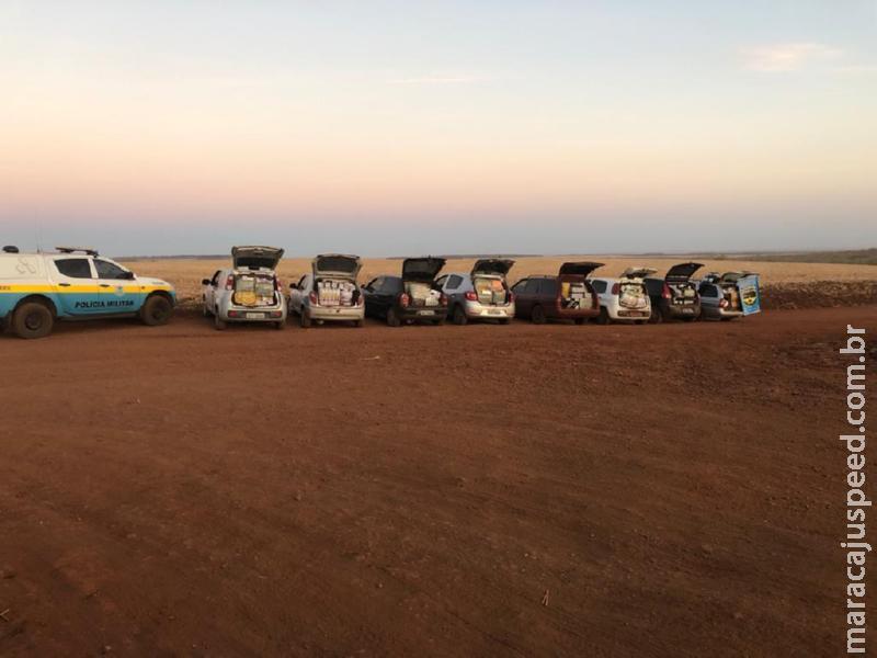 Nova Alvorada do Sul: PMRv apreende oito veículos abarrotados de contrabando e descaminho