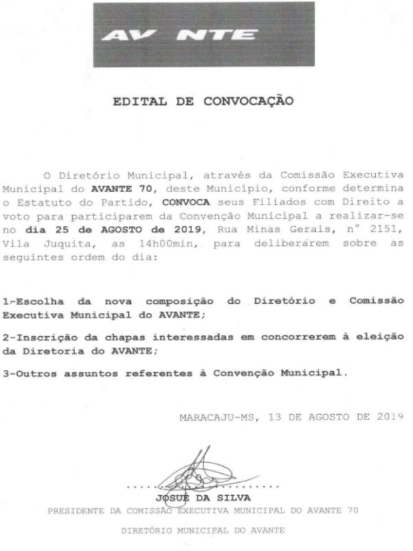 Maracaju: AVANTE realiza Convenção Municipal no próximo dia 25/08