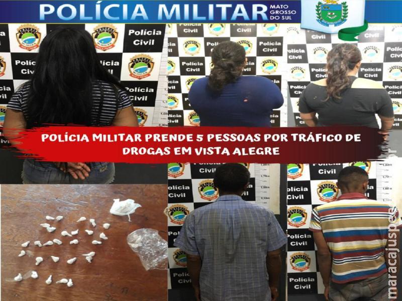 """Maracaju: Grupamento da Polícia Militar Distrito Vista Alegre prende cinco pessoas por """"Tráfico de Drogas"""" e derruba """"CASTELINHO"""""""