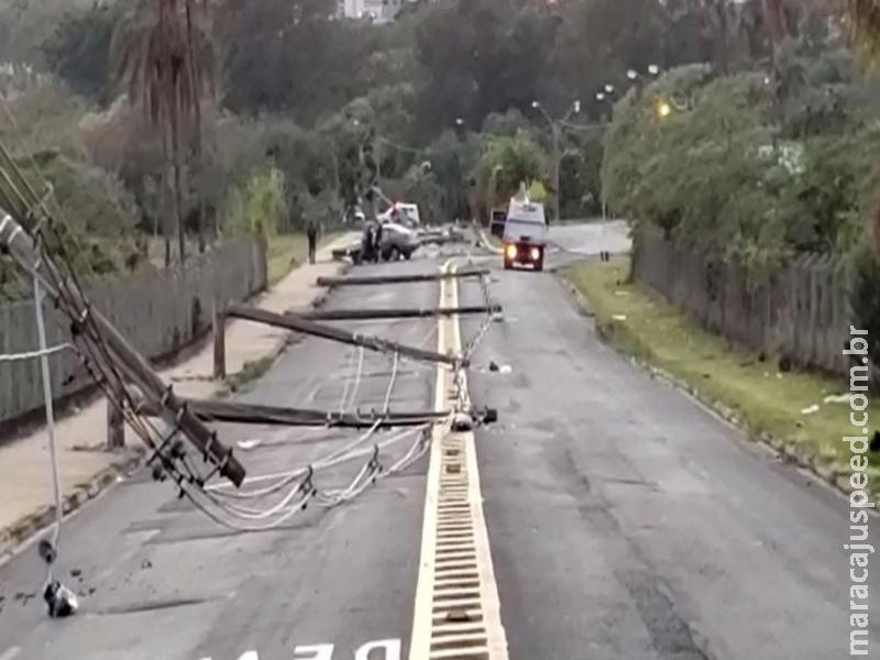 Homem bate carro e derruba 11 postes ao desviar de cachorro