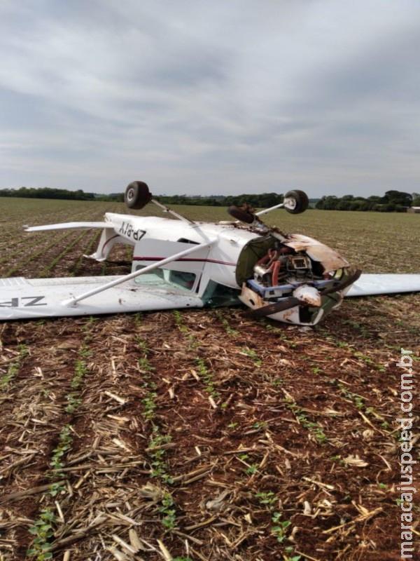 Avião pilotado por aluno de aviação cai em plantação de soja na fronteira de MS com o Paraguai
