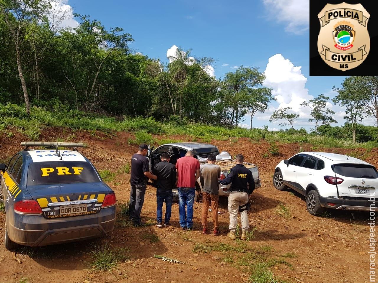 Jardim: Polícia Civil e PRF apreendem 1,5 tonelada de maconha e prendem 3 homens pelo crime de tráfico de drogas, associação criminosa e receptação