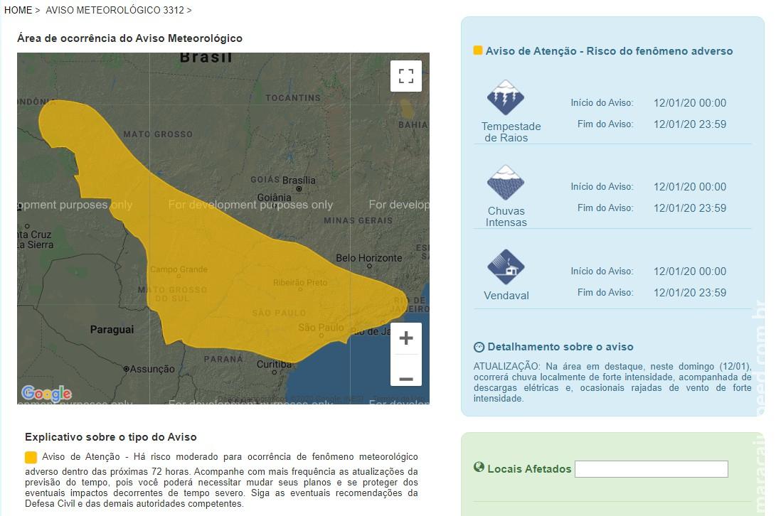 Maracaju: Aviso de Atenção - Há risco moderado para ocorrência de fenômeno meteorológico adverso dentro das próximas 72 horas