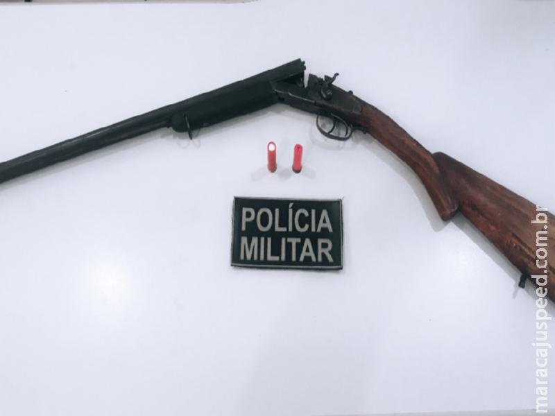 Maracaju: Polícia Militar prende homem com espingarda calibre .28, municiada com dois cartuchos