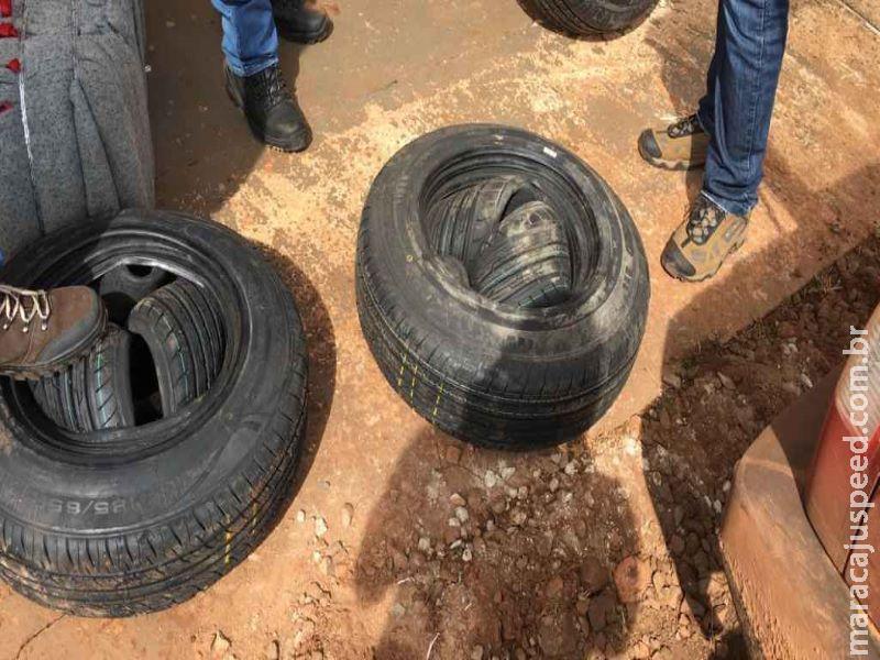 Trio é preso com cigarros, agrotóxicos e pneus contrabandeados em Campo Grande