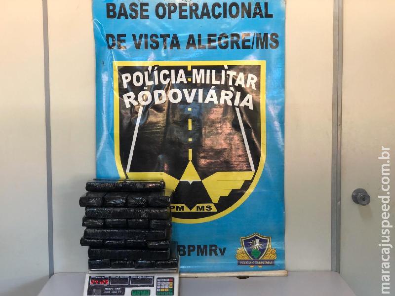 Distrito Vista Alegre: Polícia Militar Rodoviária flagra passageiro transportando 24kg maconha para Caldas Novas/GO