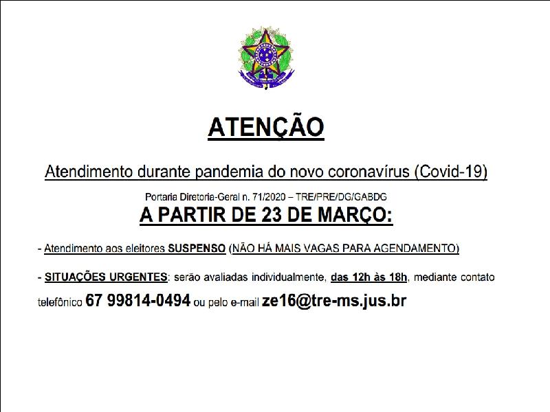 Maracaju: Cartório Eleitoral tem atendimento aos eleitores SUSPENSO (NÃO HÁ MAIS VAGAS PARA AGENDAMENTO)