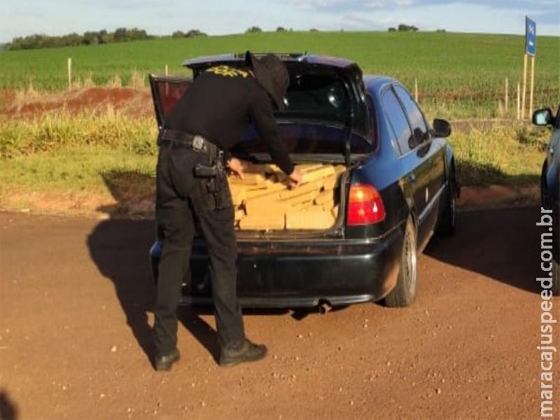 Maracaju: Honda Civic com mais de 300 quilos de maconha foi apreendido pelo DOF. Droga iria para Sidrolândia
