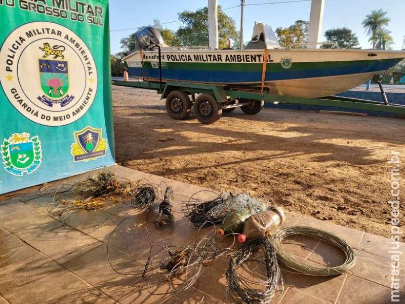 Em dois dias, quase 1km redes de pesca são apreendidas no rio Miranda