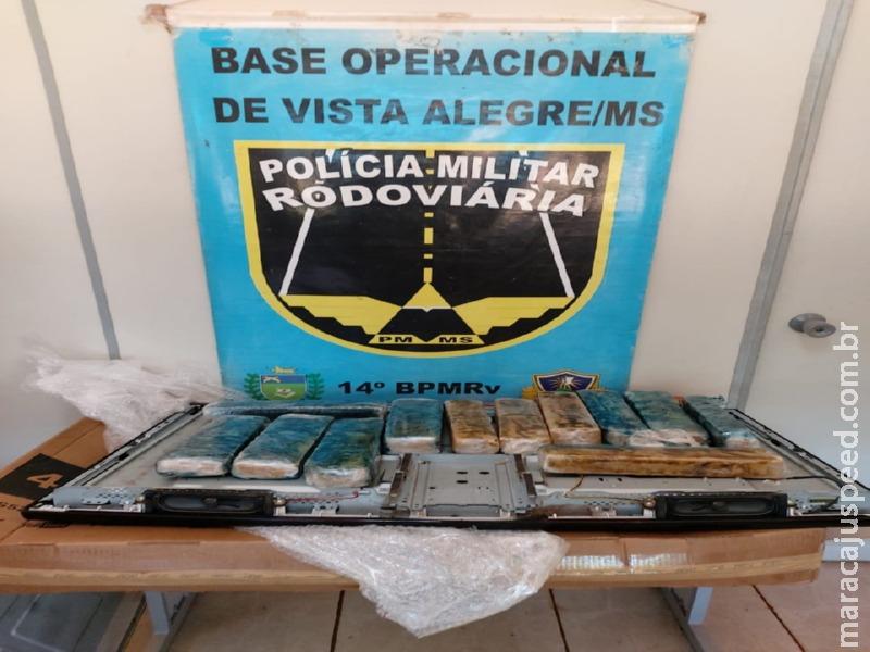 Maracaju: Mineiro é flagrado com 13 tabletes de maconha escondidos em TV que levaria para a capital de MG