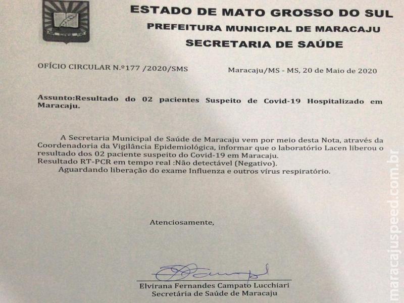 Maracaju: Os dois casos suspeitos de Covid-19 em Maracaju atestaram NEGATIVO