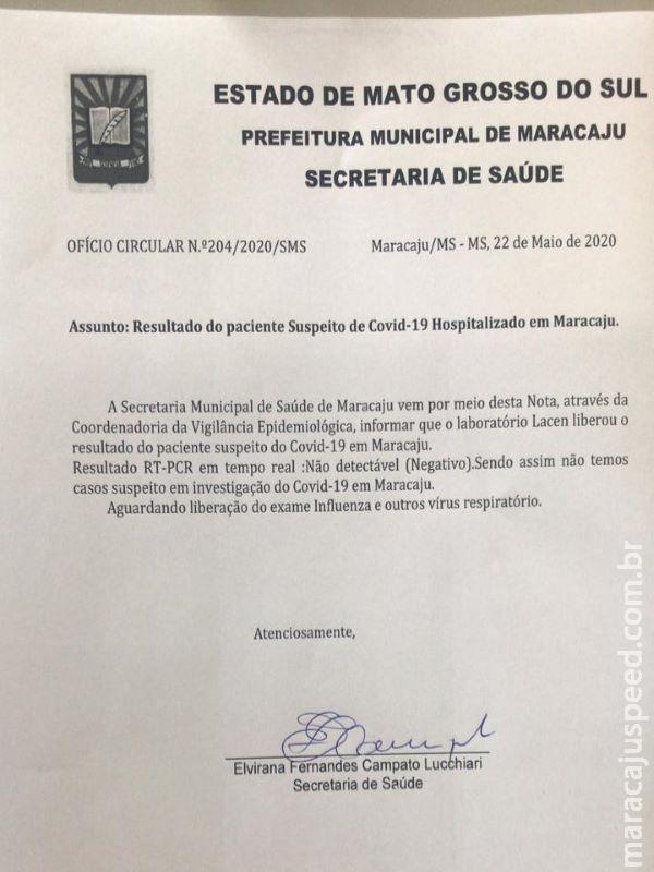 Maracaju: Resultado do paciente Suspeito de COVID-19 atesta negativo