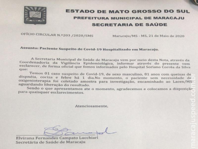Nota Oficial: Maracaju registra novo Caso Suspeito de COVID-19