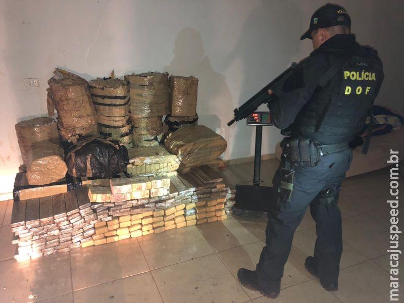 Mais de 800 kg de maconha são apreendidos pelo DOF em residência