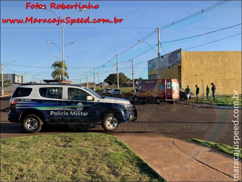 Maracaju: Condutor invade avenida, colidi com veículo e desgovernado abalroa um terceiro veículo que estava estacionado
