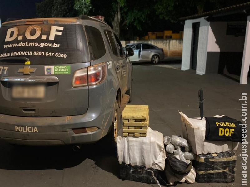 Maracaju: Mais de 160 quilos de maconha abandonados às margens de Rodovia foram apreendidos pelo DOF durante a Operação Hórus