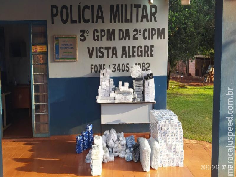 Maracaju: Pelotão da Polícia Militar Distrito Vista Alegre apreende material eletrônico e cigarros avaliados em 60 mil reais
