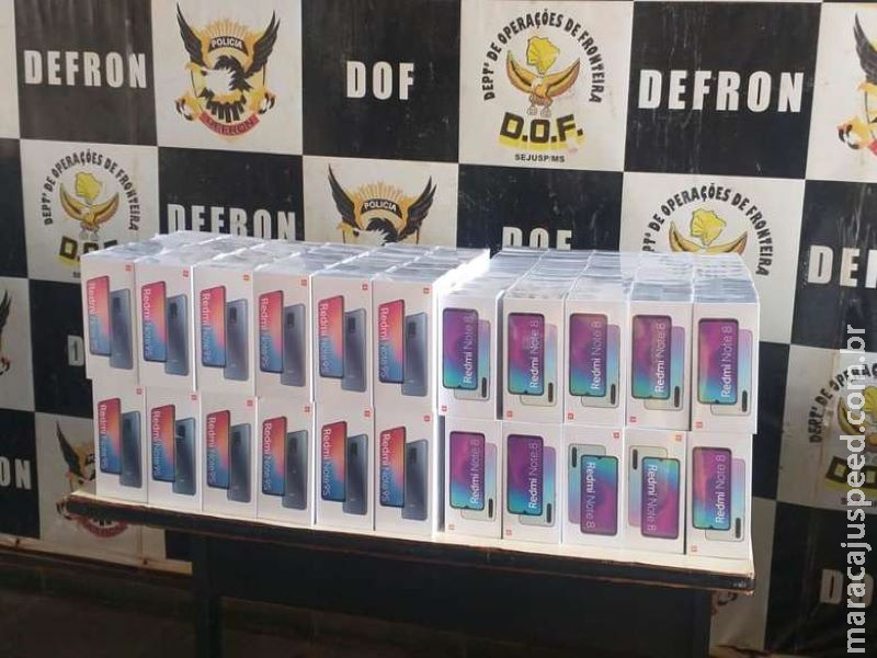 Policiais do DOF apreendem 180 smartphones na região de fronteira