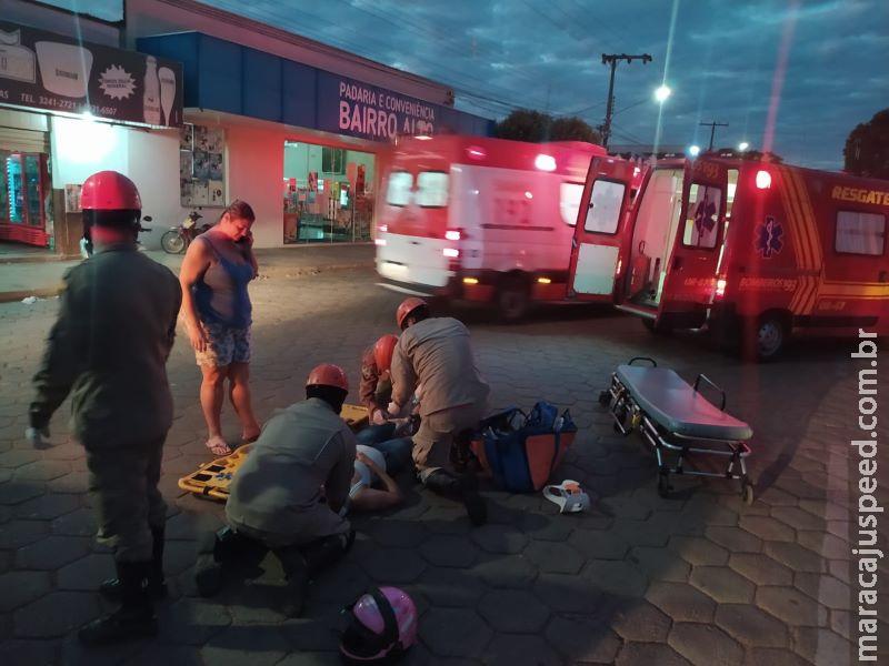 Cachorro atravessa rua e provoca acidente com moto em Aquidauana