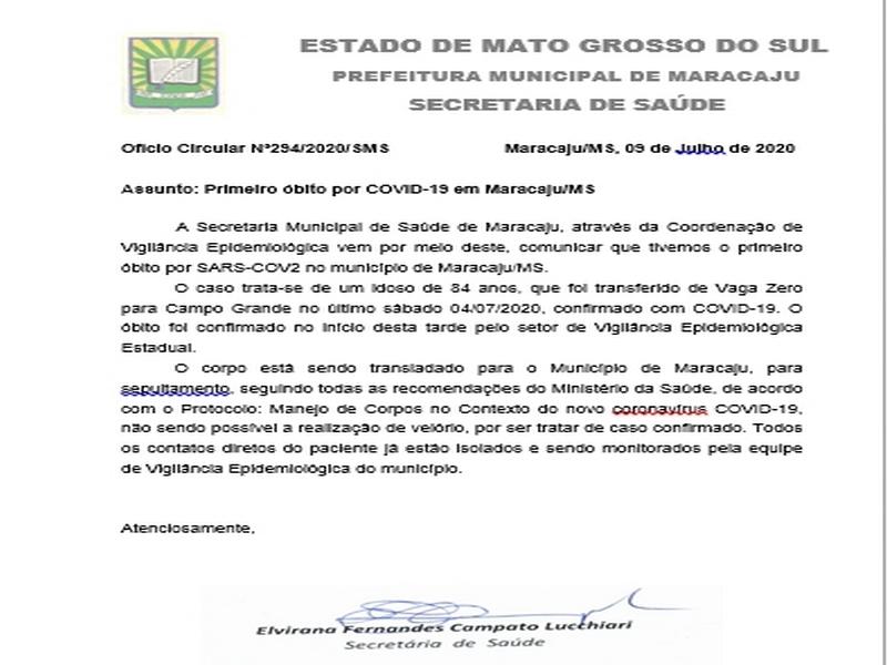 Maracaju confirma primeiro caso de morte por Covid-19